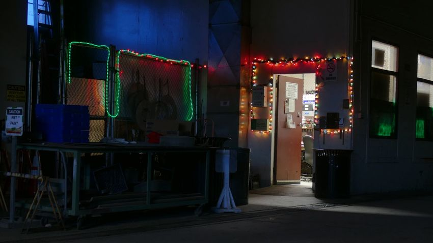 Tree-lights of the Toolroom. Dawn Of A New Day Shute Early Morning Blues Johnny's Festive Mood Festive Lights Dim Light Garage Building Interior EyeEm Selects Illuminated Night Built Structure Architecture No People Indoors