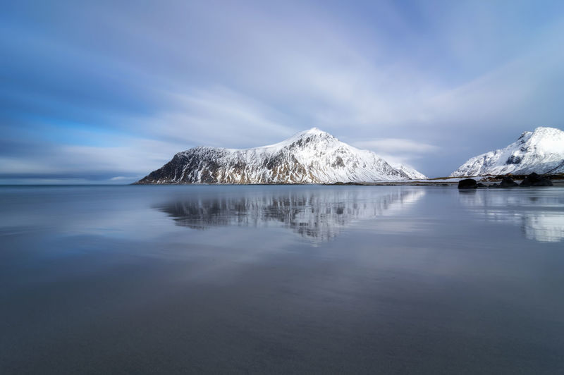 Panoramic view of sea and snowcapped mountain against sky norway