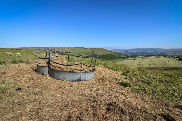 hay trough in the mountains Hay Trough Sheeps Mountain England United Kingdom Grass Herb Clear Sky Sky Landscape Agricultural Field Tranquil Scene Scenics Shore Countryside Tranquility Non-urban Scene