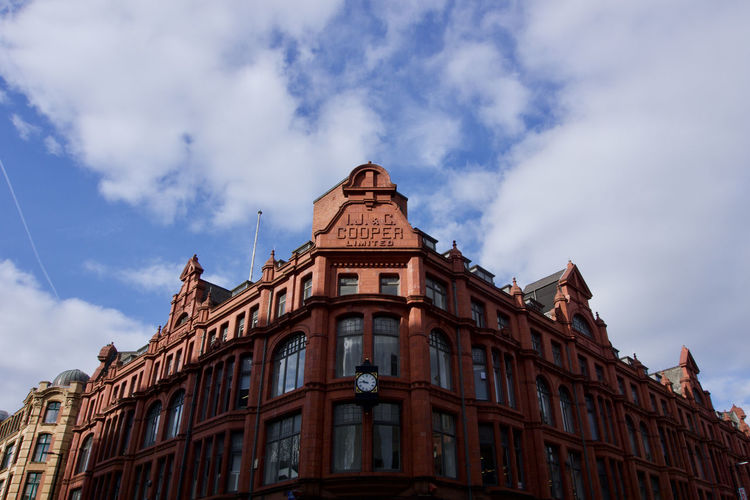 Architectural detail in Manchester, UK Manchester Northern Quarter Building Exterior Cloud - Sky Architecture Built Structure Low Angle View Sky Building Nature Day Window No People The Past History City Outdoors Façade Travel Destinations Residential District Brown Old Apartment