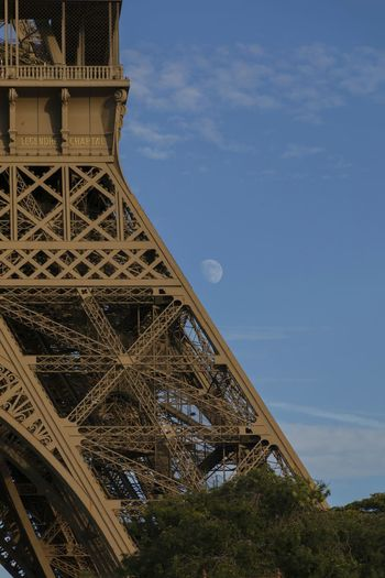 The moon and the Eiffel Tower France Paris Tour Eiffel EyeEm Selects Travel Destinations Tourism Architecture History Travel Built Structure Tower Vacations Monument City Sky Steel No People Day Outdoors
