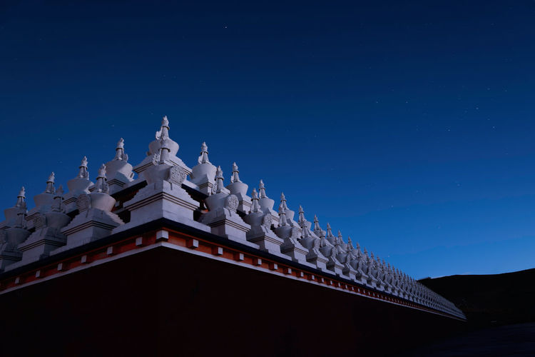 Tibet grassland night view China Landscape Sky Nature Beauty In Nature Travel Night Tower Architecture Building Exterior Building Religion Belief Spirituality Place Of Worship Clear Sky Low Angle View No People Blue Travel Destinations The Past History Outdoors Ornate