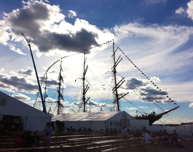Cloud - Sky Sky Day Outdoors Sailing Ship Sails Bright Light Harbour Tent Fair Tall Ships Festival Finland Sea Masts Sea Life Colour Your Horizn