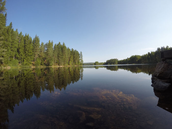 Lakeside Summer Sverige Sveden Blue Sky Nature Reflection Tranquil Scene