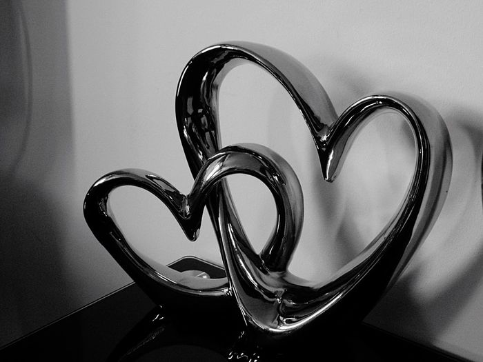 Photography Black And White Ornament Silver  Hearts Two Hearts As One Indoors  Table Close-up Two hearts beat as one!