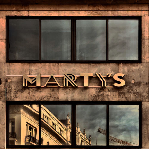 Low angle view of sign on building