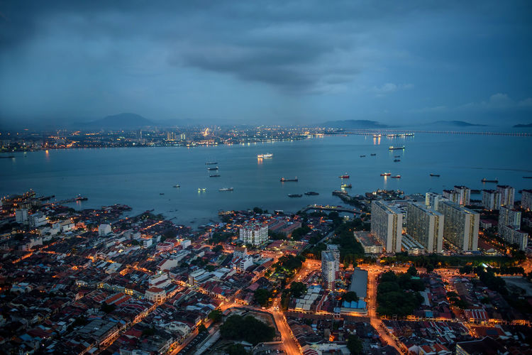 Architecture Beauty In Nature Building Exterior Buildings City Cityscape Cloud - Sky Coastline Dronephotography Dusk Heritage High Angle View Horizon Over Water Illuminated Penang Roof Scenics Sea Sky Skyscraper Streetlights Sunset Water Waterfront