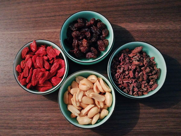 Raisin Peanut Cacao Goji Bowl Healthy Eating Food And Drink Food Table Fruit Freshness Indoors  Variation Plate Dried Fruit No People Dessert Studio Shot Healthy Lifestyle Ready-to-eat Close-up Goji Berries Nutrition High Angle View Directly Above