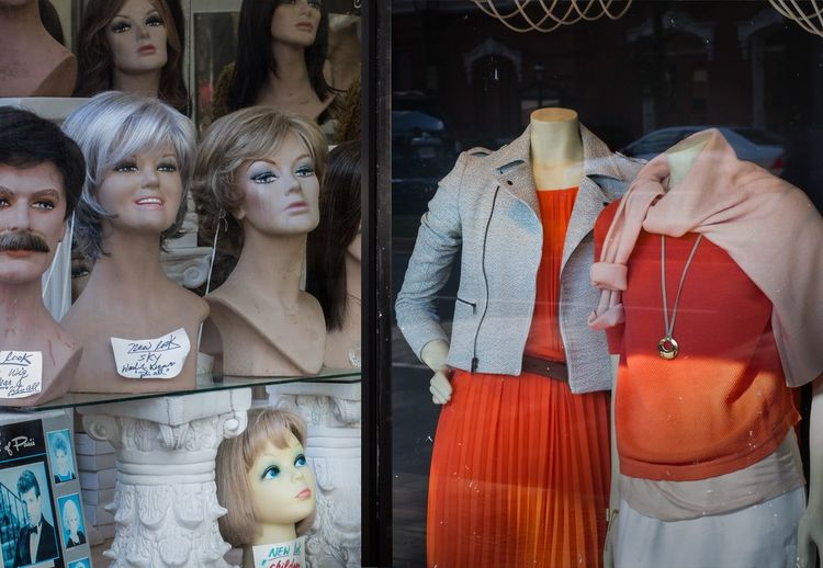 Diptych: window shopping in Old Town. Diptych Diptych/Triptych Mannequin Wigs Fashion Wigs Window Shopping Irony Humour