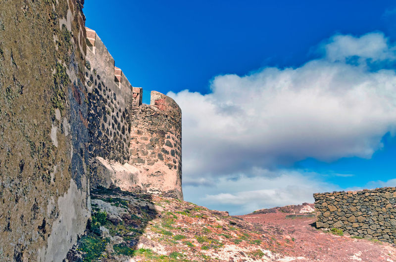 low angle view of the Castillo de Santa Bárbara (Santa Bárbara Castle) against sky Ancient Civilization Mountain Ancient History Rock - Object Sky Architecture Landscape Cloud - Sky Castle Medieval Civilization Aged Fortress Fort Stone Wall Fortified Wall My Best Photo