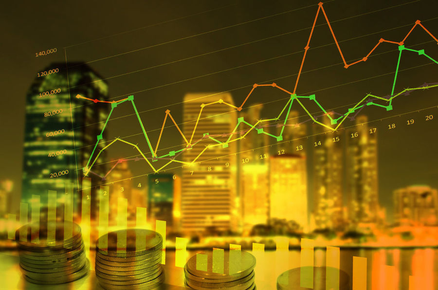 Business City Double Exposure Research Business Concept Chart Finance Graph