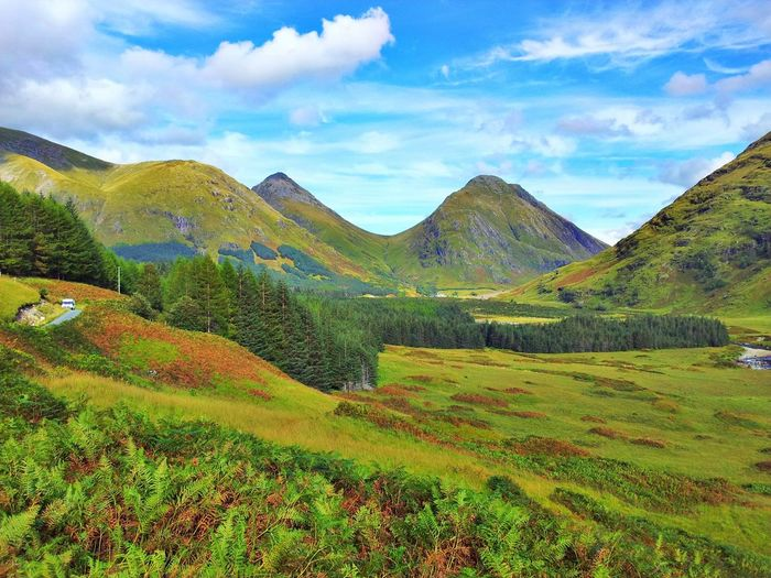 Highlands Mountains Sky And Mountains Valley Vibrant Green