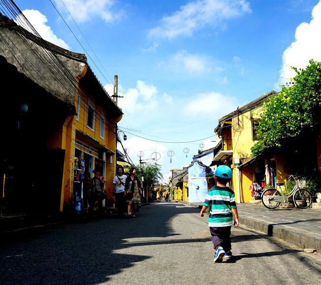 With my nephew! Walking Around HoiAnancienttown Hoian, Vietnam Blue Sky Travel Photography Yellow House