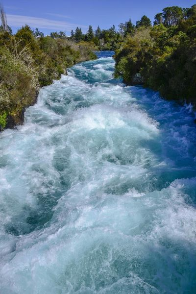 Huka Falls, NZ Beauty In Nature Day Motion Nature No People Outdoors Power In Nature Scenics Sea Sky Tree Water Waterfall Wave