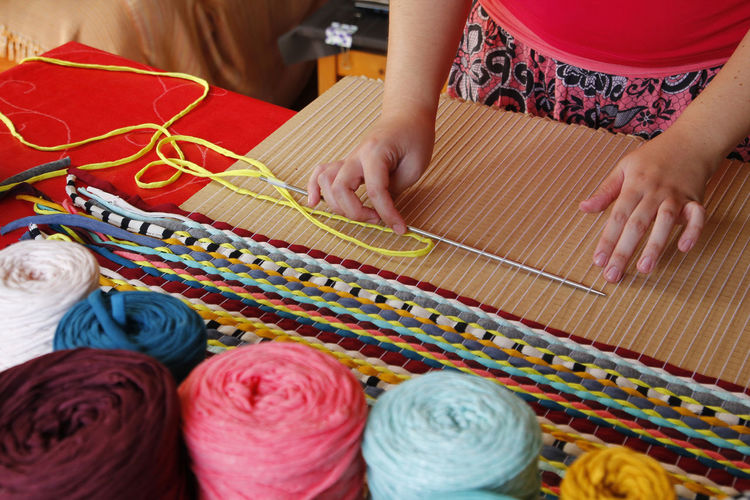 Homemade do it yourself diy DIY Hands Homemade Woman Adult Art And Craft Ball Of Wool Craft Creativity Hand Handmade Hobby Indoors  Knitting Manual Worker Multi Colored One Person Real People Sewing Needle Skill  Textile Thread Women Wool