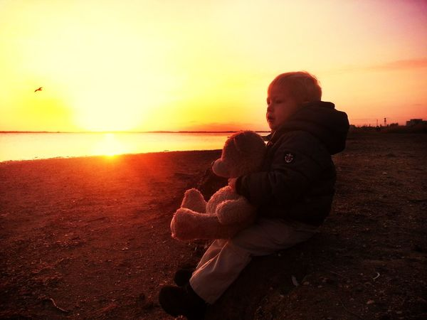 Ivning Crimea Teddy Bear Wonderful Boy Autumn Sunset Sky Water Orange Color Two People Child Beach Beauty In Nature Nature Real People Childhood Scenics - Nature Bonding Positive Emotion Lifestyles