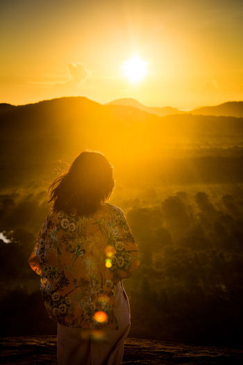 Adult Adults Only Adventure Beauty Beauty In Nature Beginnings Dambulla Day Landscape Lens Flare Lion Nature One Person One Woman Only Only Women Outdoors People Pidurangala Rear View Rock SriLanka Sun Sunlight Sunrise Sunset