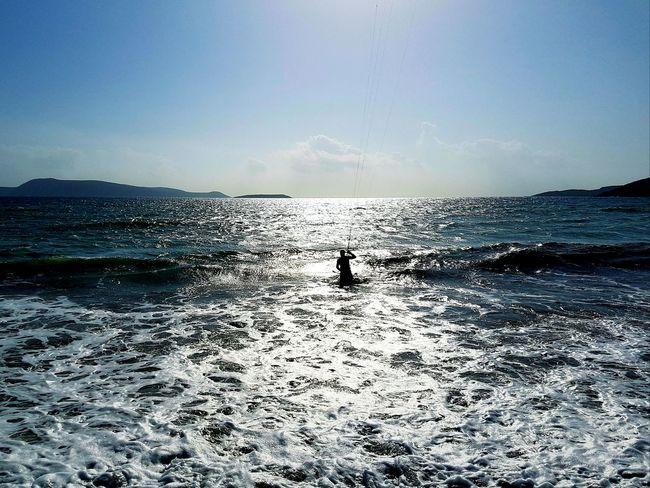 Kitesurfing Ocean Water Reflections Nature Outdoor Sport Horizon Over Water Greece Peleponnes