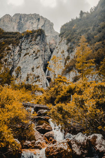 Autumn Beauty In Nature Change Day Formation Landscape Mountain Mountain Peak Mountain Range Nature No People Non-urban Scene Outdoors Plant Rock Rock - Object Scenics - Nature Sky Solid Tranquil Scene Tranquility Tree