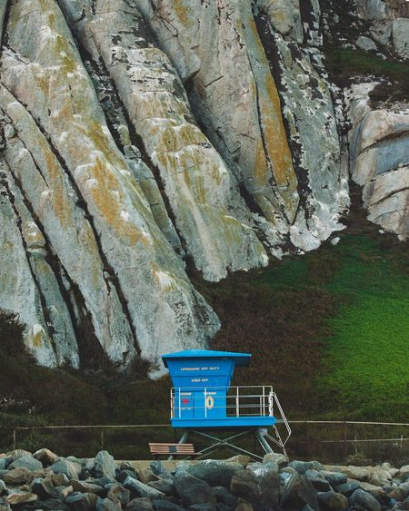 Lifeguard hut on rocky mountains