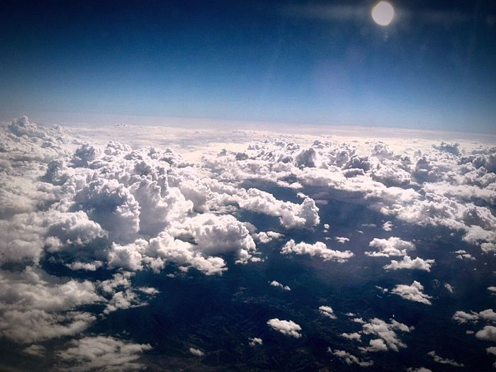 Plane view of clouds Sky Nature Blue Cloud - Sky Flight View Flight Window Seat Window Seat Privileges Holiday Travel Destination Vacation Time