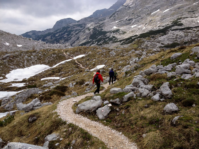High Angle View Of People Hiking On Mountain At Triglav National Park