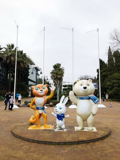 Russia Olympicgames Sochi Human Representation Male Likeness Art And Craft Sculpture Tree Statue Day Snowman No People Outdoors Sky