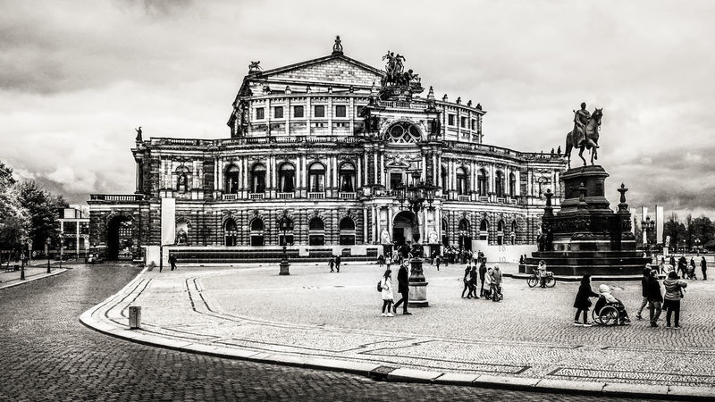 Semperoper Architecture Sky Cloud - Sky Travel Destinations Travel Tourism City History The Past Façade Outdoors Opéra Opera House Semperoper Opernplatz Bw Bw_collection BW_photography Sachsen