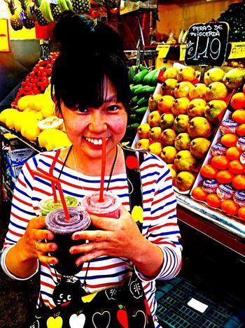 SPAIN España Orange Kiwi Watermelon Juice Market Barcelona Meee