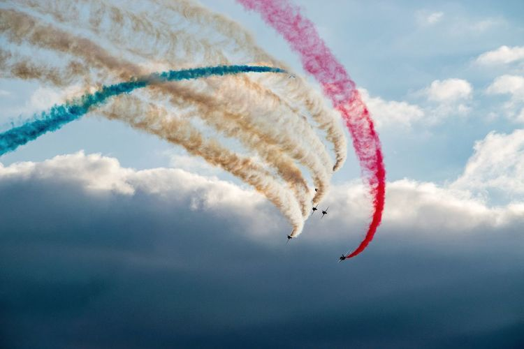 Vapor trail from red arrows aerobatic display team