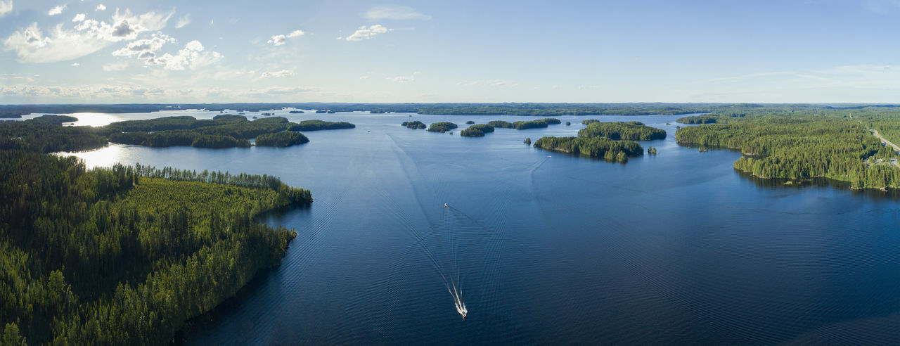 Drone  Finland Islands Nature Panorama Panoramic Aerial Aero Boat Lake Landscape River Sea Sea And Sky Summer Water