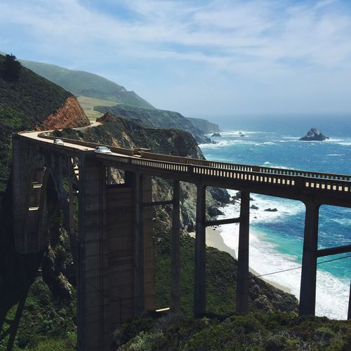Bixby Creek Bridge Sky Mountain Water Sea Nature Beauty In Nature Scenics Built Structure Day Architecture Outdoors No People Cloud - Sky Tranquil Scene Bridge Big Sur Pacific Coast Highway PCH Bixby Canyon California