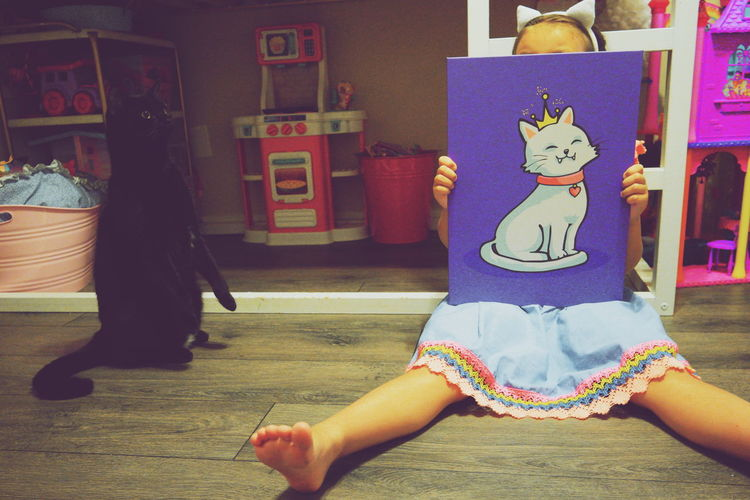 Kid Cat Kitty Animal Childhood Child EyeEm Selects House Lifestyles Arts Culture And Entertainment Disguise Built Structure Street Art Children