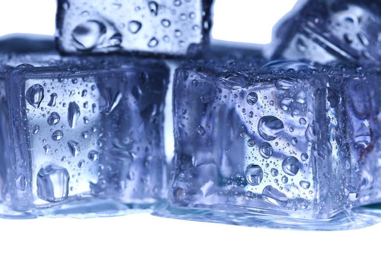 Close-up of wet ice cubes