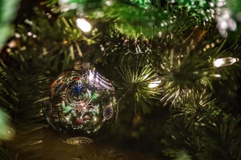 Holiday Christmas Celebration Tree christmas tree Decoration Christmas Decoration Christmas Ornament Close-up Holiday - Event Christmas Lights Shiny Belief Religion Sphere No People Illuminated Silver Colored Coniferous Tree