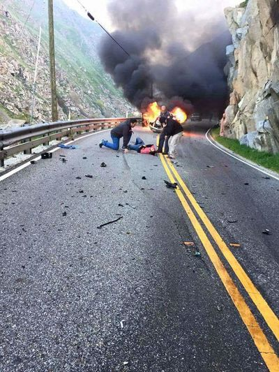 Car accident Canyon Danger Rescuer Dangerous Road Heroes Rescue Worker People Helping People Car Fire Dangerous Roads