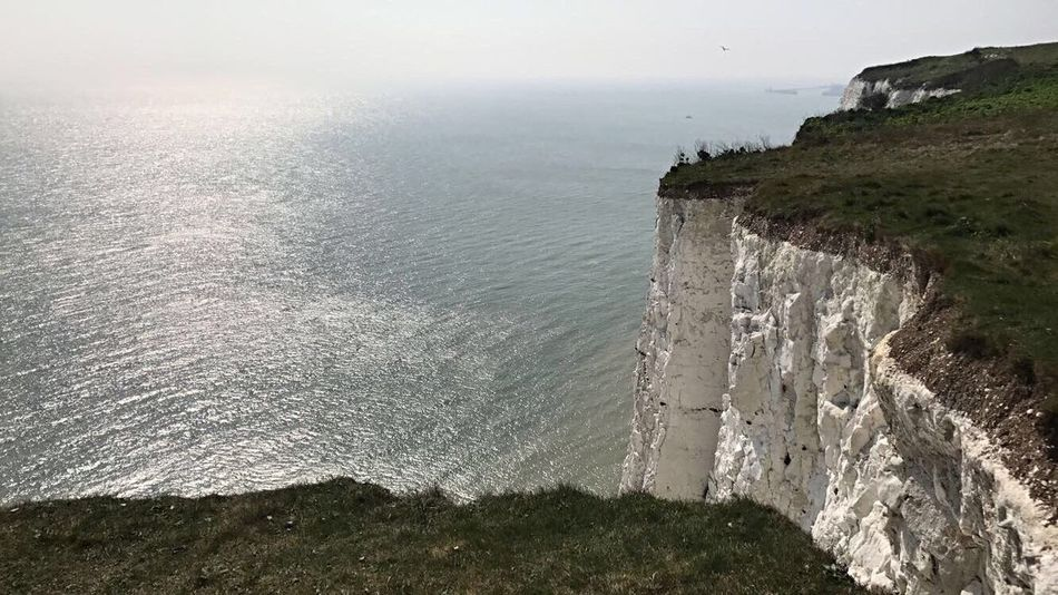 UK🇬🇧 Outdoors Beauty In Nature Nature Sea Day Horizon Over Water Cliff Water Sky No People White Cliffs Of Dover White Cliffs  Uk England United Kingdom Dover First Eyeem Photo