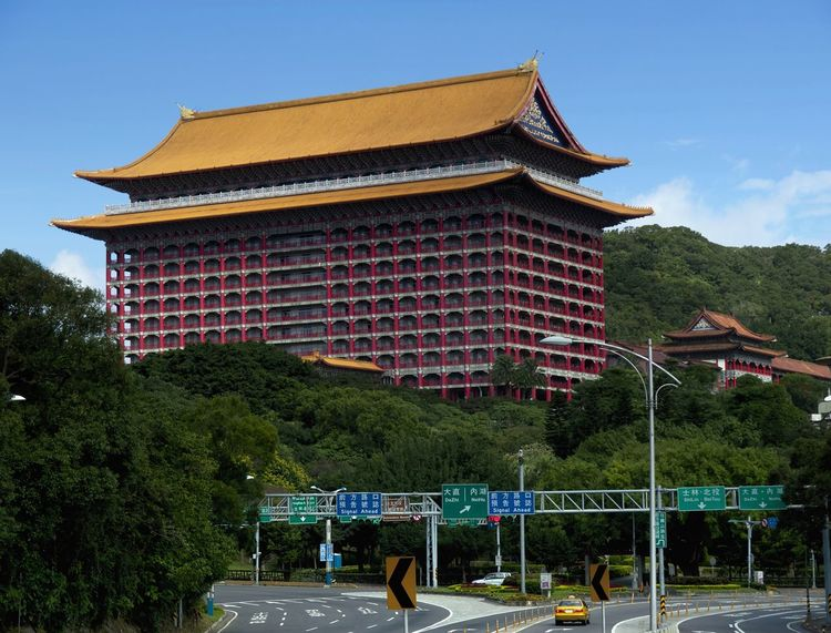 The Yuanshan Hotel, otherwise known as the Taipei Grand Hotel, a very distinctive building which lies at the northern edge of central Taipei, where the Taipei basin gives way to more hilly terrain. Grand Hotel Taipei Taipei,Taiwan Architecture Building Exterior Built Structure Day History Nature No People Outdoors Sky Travel Destinations