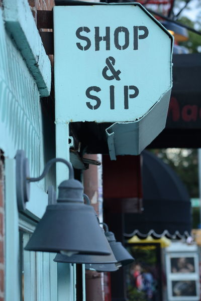 Bleecker Street Blue Cafe Close-up Day Greenwich Lamps New York New York City No People Outdoors Road Sign Shop And Sip