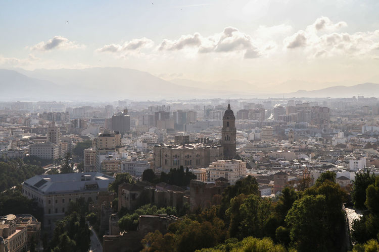 Aerial view of Malaga from a hill Architecture Sky Built Structure Building Exterior Cityscape City Cloud - Sky Building Nature No People Tree Plant Residential District Outdoors Day Travel Destinations High Angle View Office Building Exterior Skyscraper