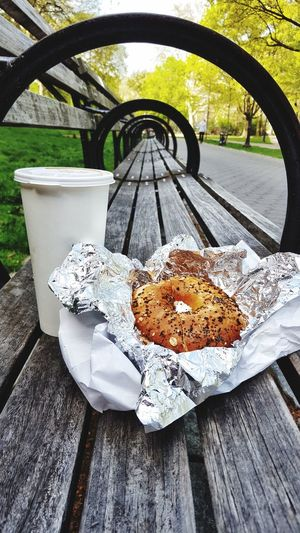 New York breakfast New York New York City New York Street Photography Bagels Coffee ☕ Coffee Time Bagel And Coffee Riverside Park Battle Of The Cities