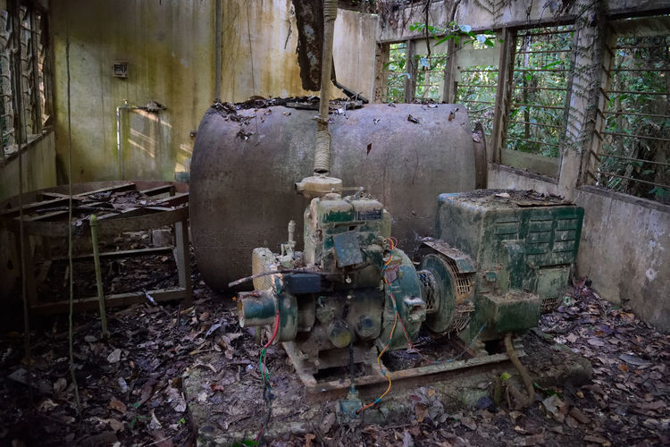 Abandoned Places No People Abandoned Indoors  Cage Day Wilderness Wild Rainforest Walks Tropical Tree Textured  Rainforest Taman Negara Nature Backpacking Adventure Club Jungle Trekking The Purist (no Edit, No Filter) Traveling Survival Generator Abandoned Generator Power Power Supply
