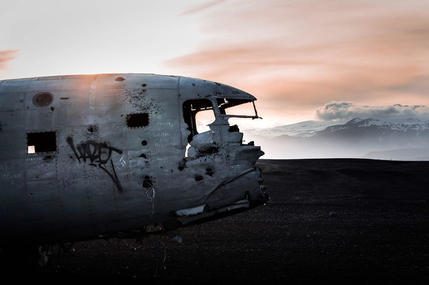 Iceland plane wreck Abandoned Airplane Damaged Transportation Destruction Obsolete Sunset Crash Military Airplane Air Vehicle Mode Of Transport Propeller Airplane Rusty No People Sky Accidents And Disasters Outdoors Landscape Space Travel Vehicle Day