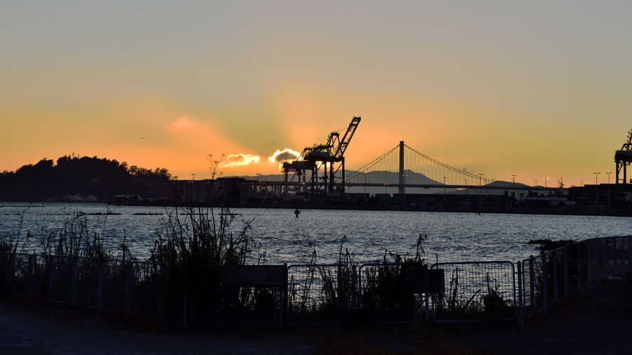 Sunset At Middle Harbor 8 Port Of Oakland,Ca. Middle Harbor Maritime Waterfront♥ Gantry Cranes Shipping Containers Bay Bridge Sunset Silhouettes Sundown Sunset Sunset_collection Sun's Glow Yerba Buena Island Marin Headlands San Francisco Bay Shoreline Park Scenic Fence Grass Reeds Sunrays Birds In Flight Landscape_Collection Nature Beauty In Nature Nature_collection Horizon Over Water Suspension Bridge Shore Tranquil Scene
