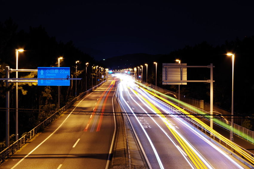 Night Illuminated Speed Light Trail Transportation Long Exposure Motion Traffic Street Light Blurred Motion City No People Vehicle Light Outdoors Road Sky Route134 奥行きシンドローム