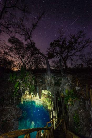 Two Worlds Beauty In Nature Cave Cenote Cenote Kankirixche Illuminated Mexico Mérida Nature Night No People Sky Swimming Underground Tranquil Scene Tree Two Worlds Underground Wide Angle View Yucatan Peninsul