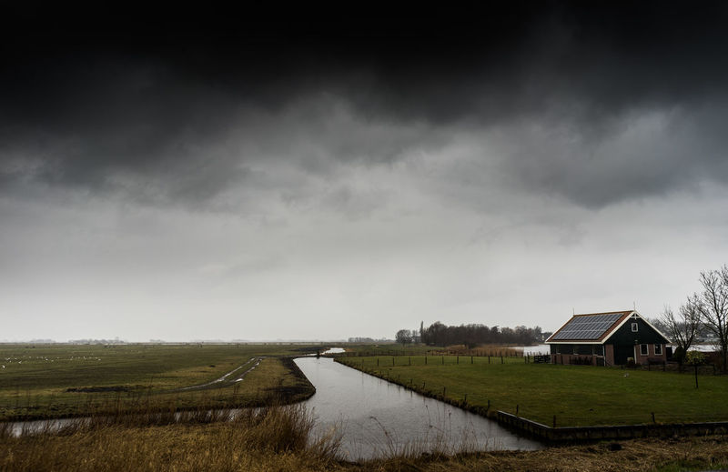 Architecture Building Building Exterior Built Structure Cloud - Sky Day Environment Field Grass House Land Landscape Nature No People Outdoors Plant Rain Rural Scene Scenics - Nature Sky Water