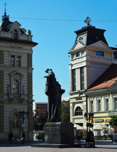 European Cities Novi Sad Serbia Balkans Europe Eastern Europe Outdoors Travel Destinations Architecture Clear Blue Sky Building Exterior Built Structure City Day Sculpture Statue Representation Human Representation Male Likeness The Past History Facades Public Places cityscapes