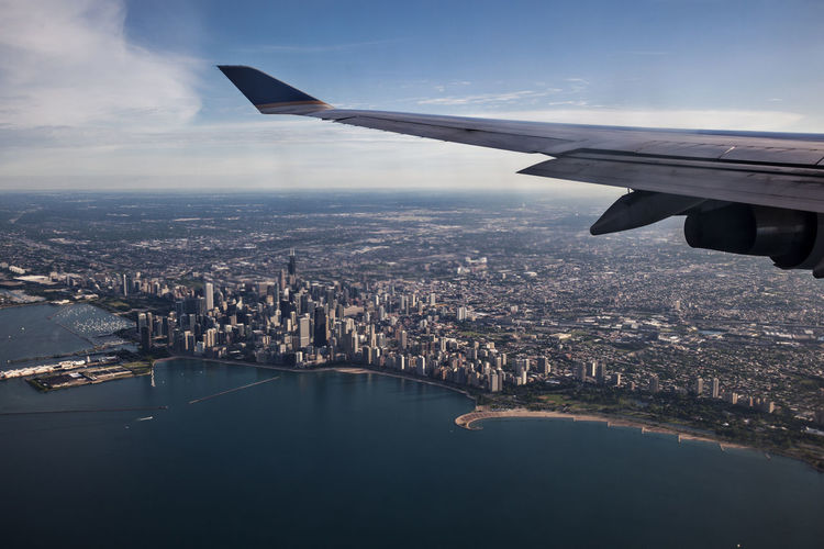 Aerial view Chicago Aerial View Aircraft Wing Airplane Blue Sky Chicago Flying Full Frame Sky And Clouds Top View Travel