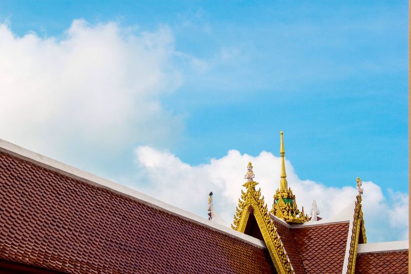Temple roof background blue sky at thailand Sky Architecture Cloud - Sky Built Structure Outdoors Low Angle View Day Roof